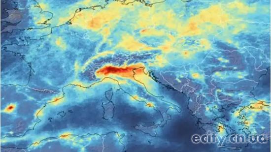 Зимний смог (NO2) в Северной Италии в феврале 2020 года (ЕКА)